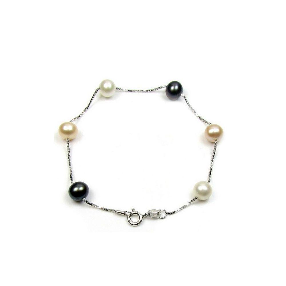 Black, White and Lavender Freshwater Pearls Bracelet