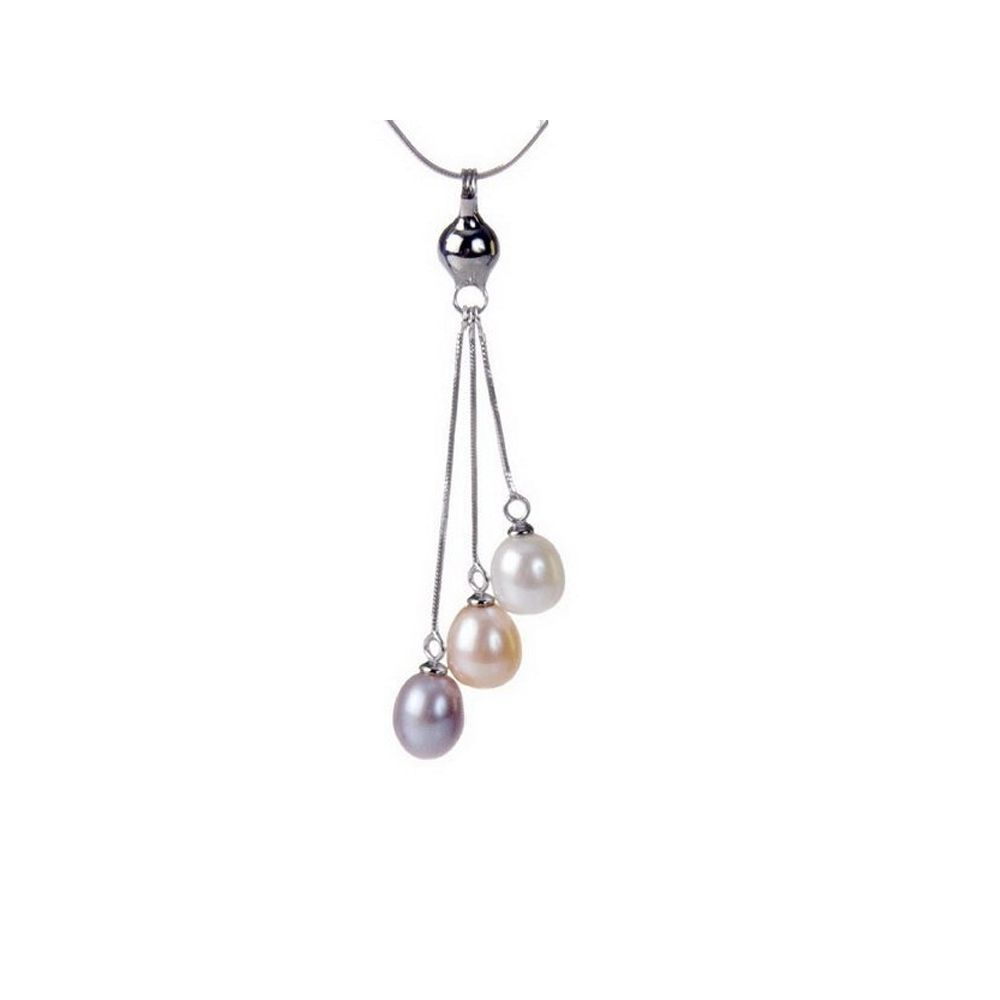 Multicolor Freshwater Pearl Pendent and Silver Clasp
