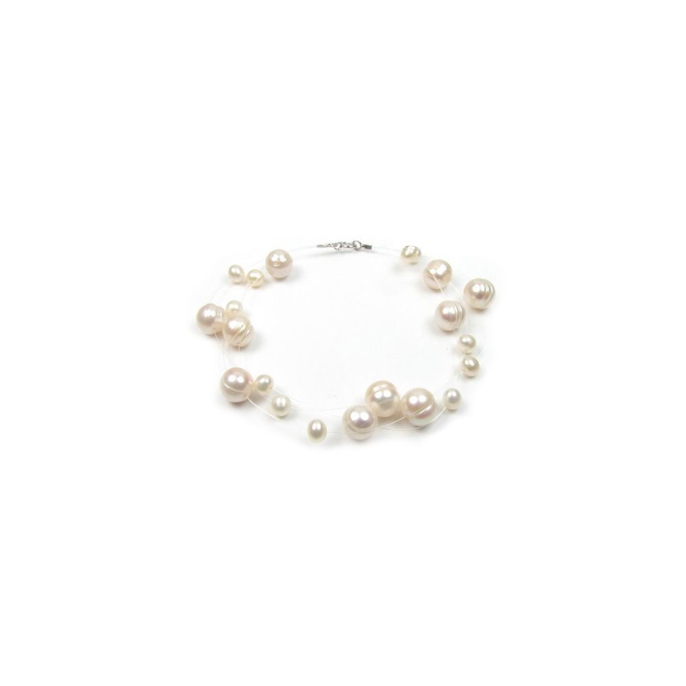 White Freshwater Pearl 3 Rows Bracelet and Silver Clasp