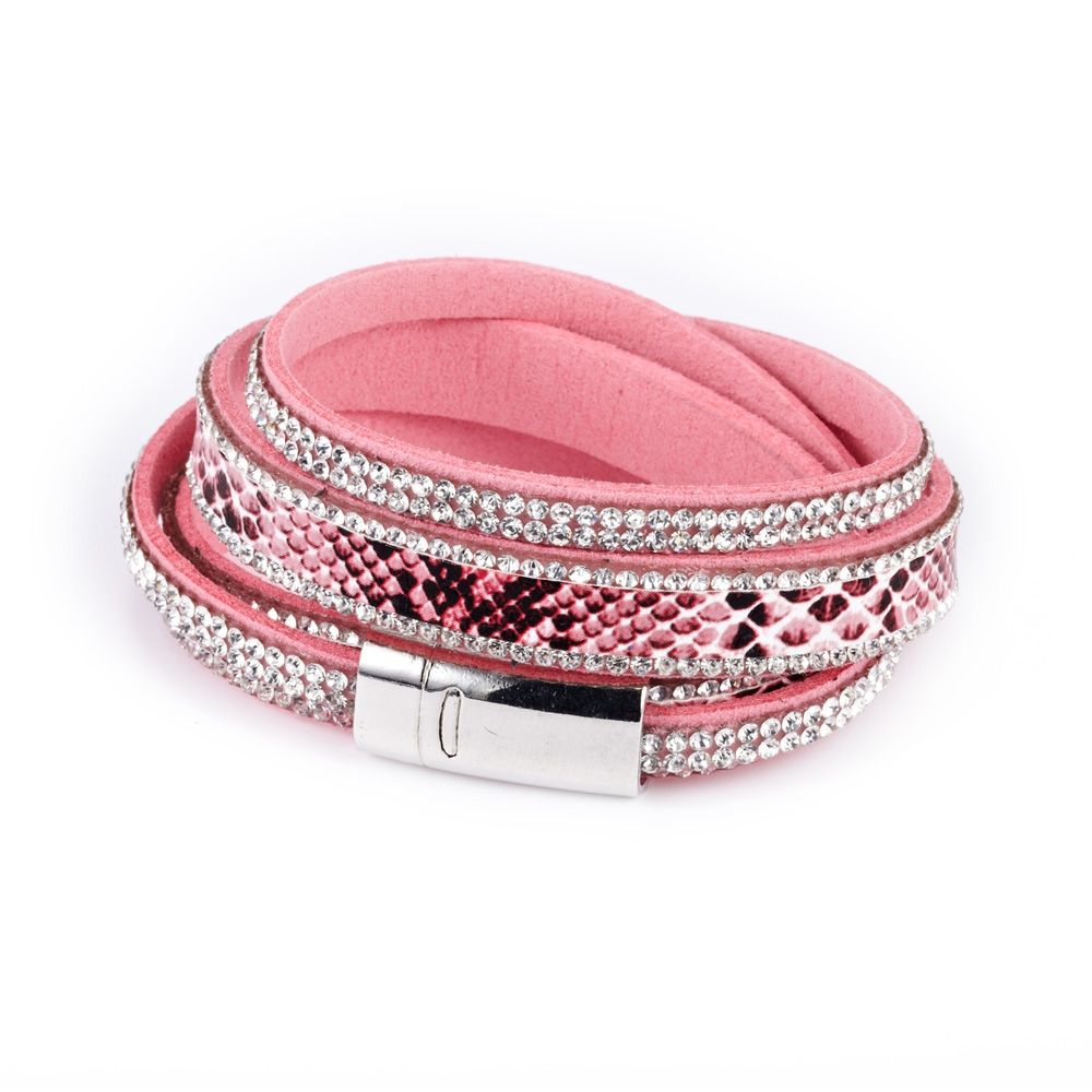 Swarovski - White Swarovski Crystal Elements 2 rows Bracelet and Pink leather