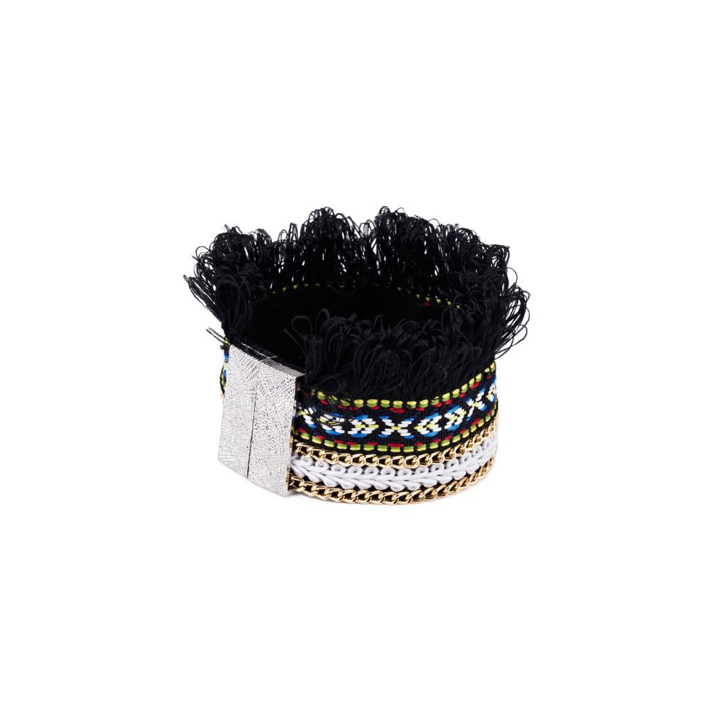 Black Fringed Cotton Bracelet and Stainless Steel