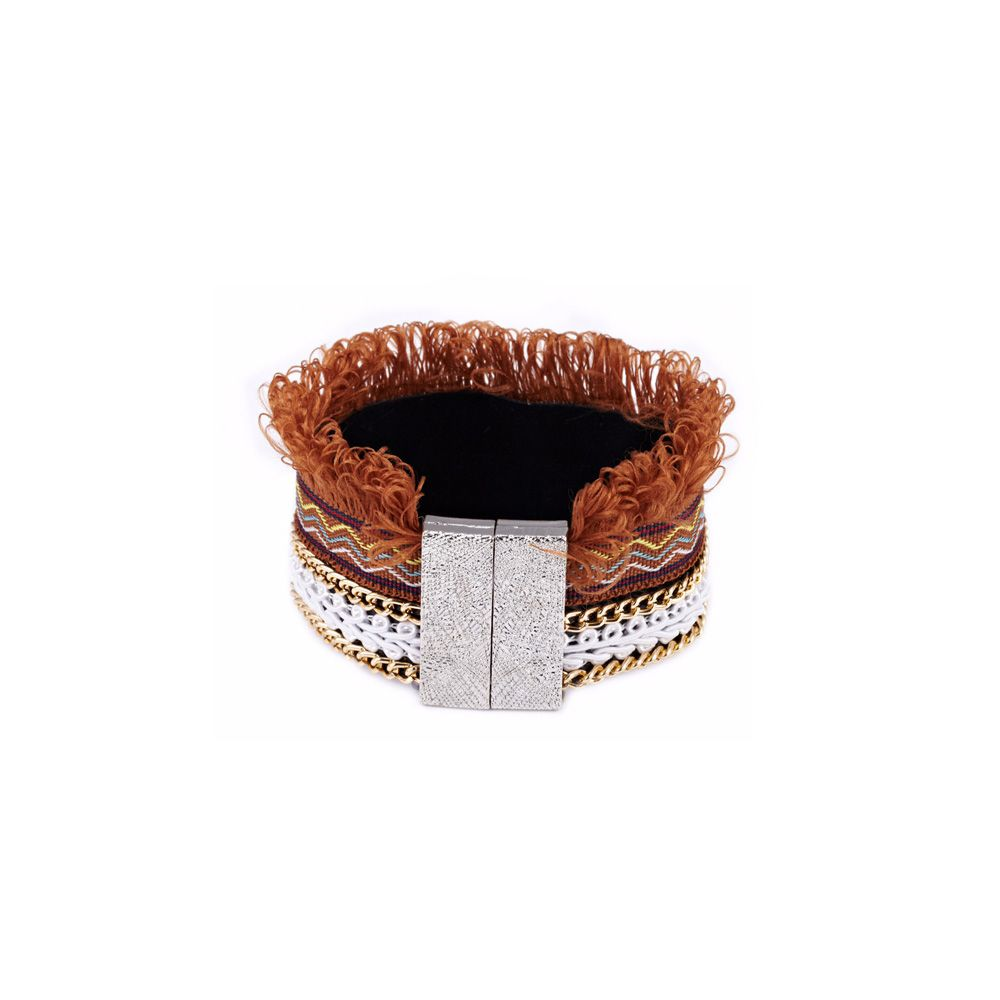 Brown Fringed Cotton Bracelet and Stainless Steel