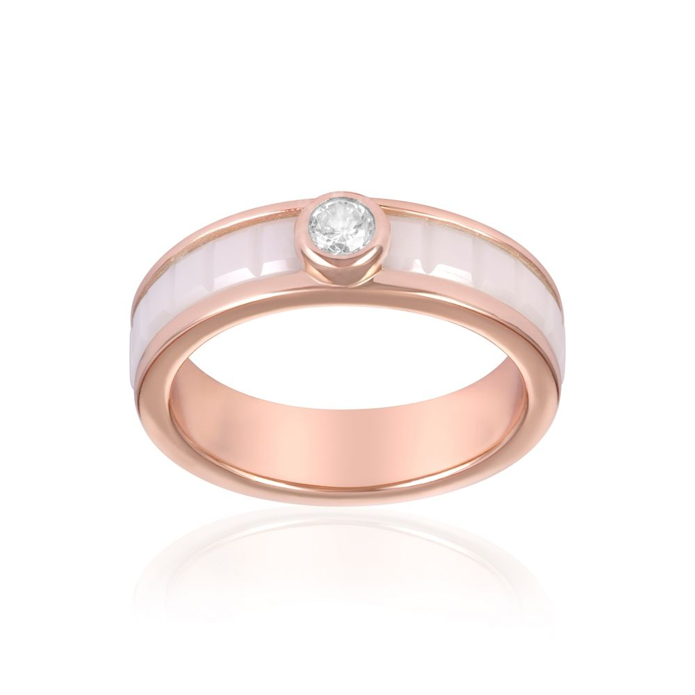 Rose Gold Plated, White Ceramic and White Cubic Zirconia Ring