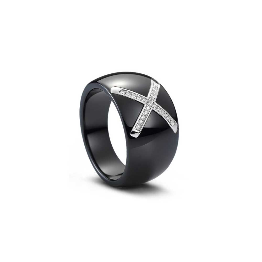 Silver, Black Ceramic and White Cubic Zirconia Ring