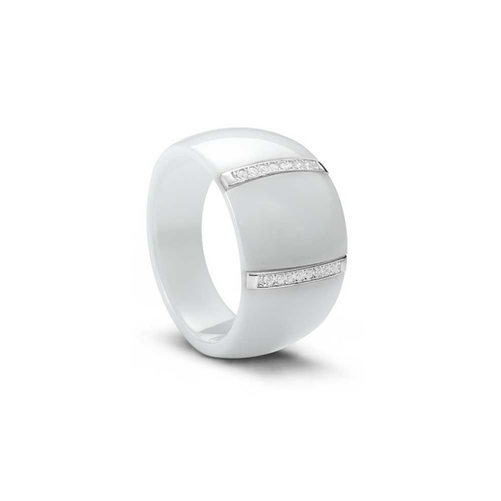 Silver, White Ceramic and White Cubic Zirconia Ring