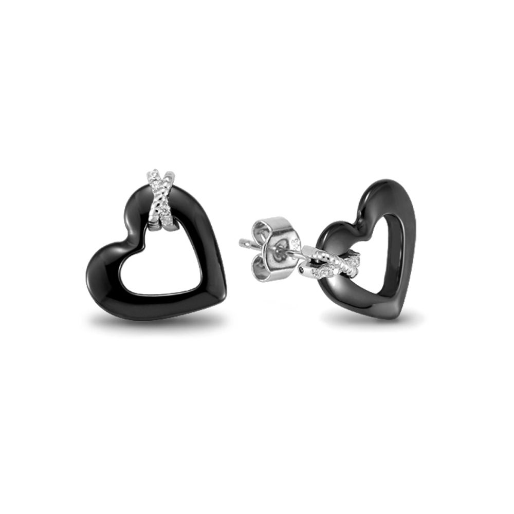 Black Ceramic Earrings Heart, White Crystal Cubic Zirconia and Silver 925