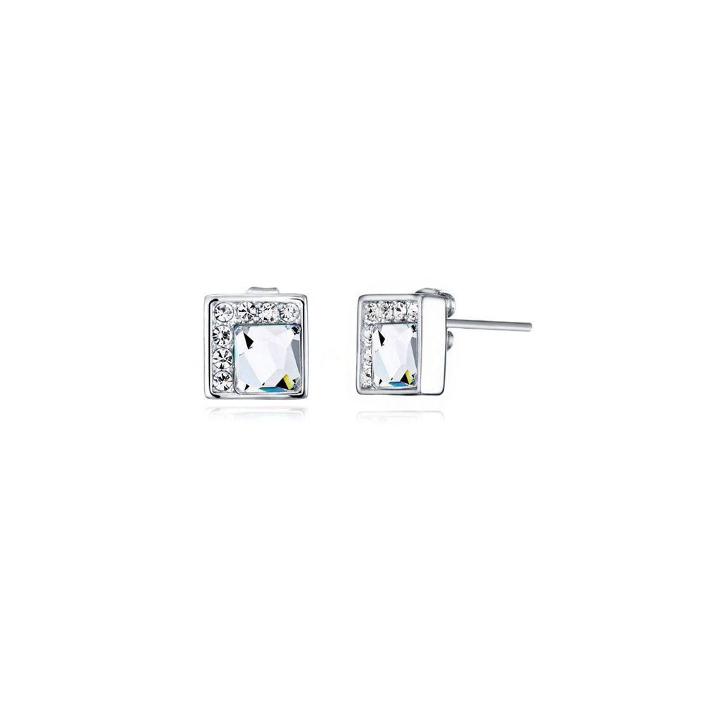 Swarovski - White Swarovski Elements Crystal Earrings and Rhodium Plated