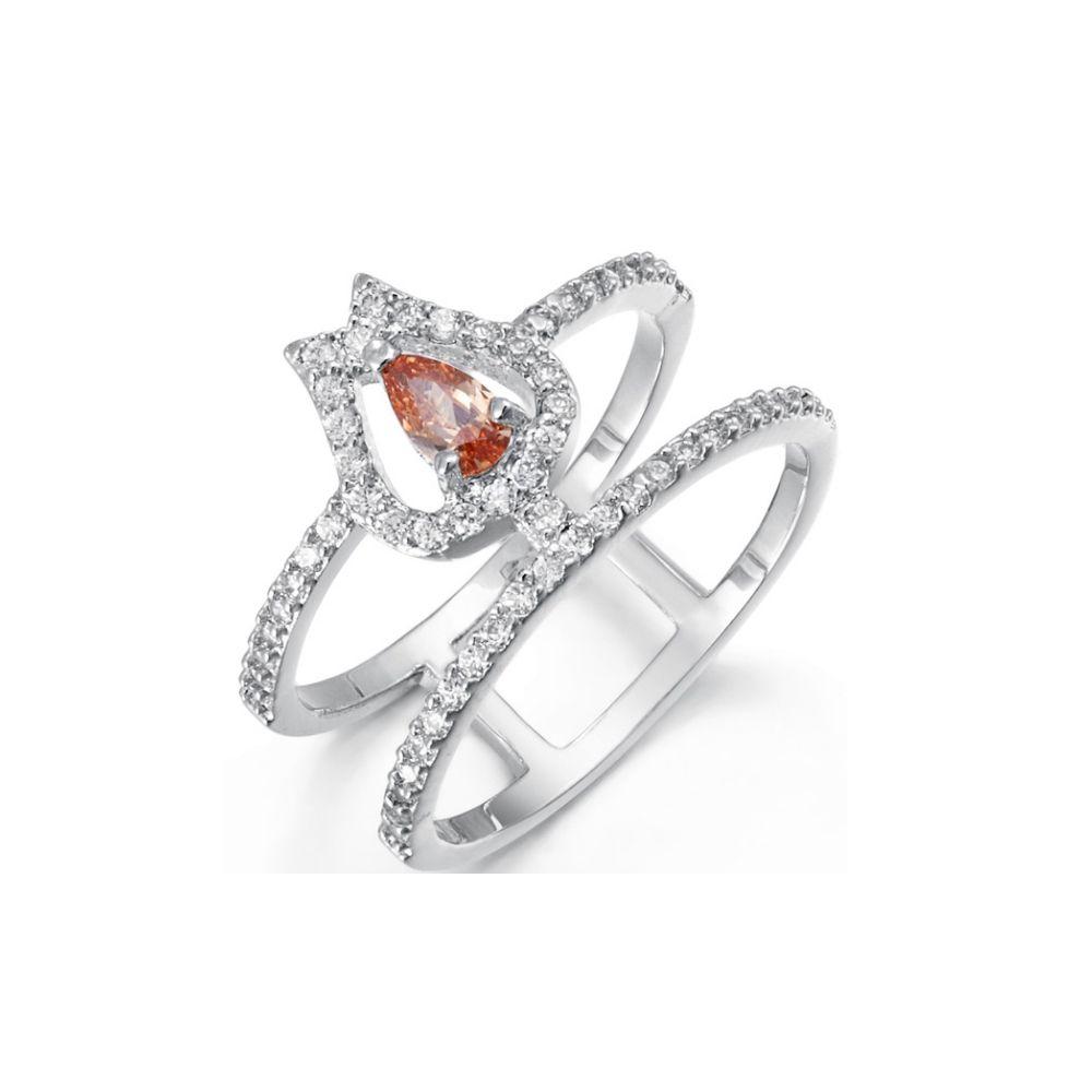 Swarovski - White and Orange Swarovski Elements Crystal Ring