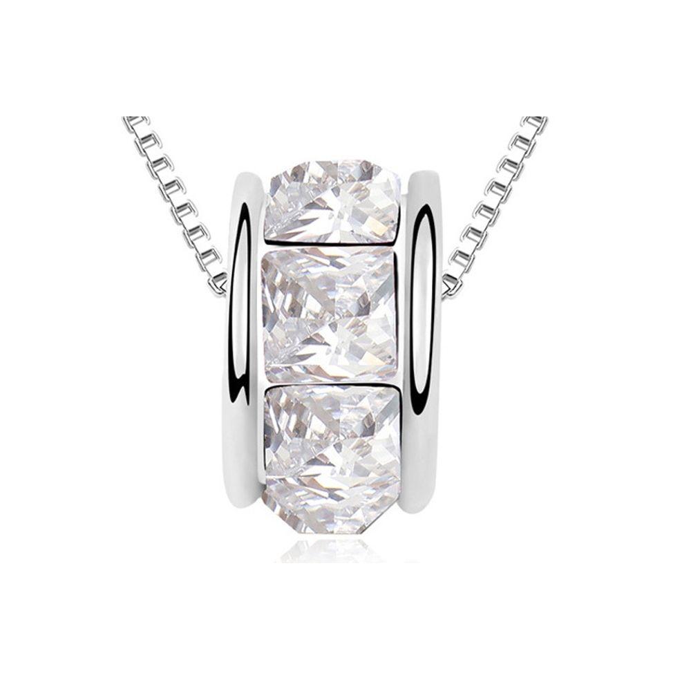 Swarovski - White Swarovski Elements Crystal Ring Necklace and White Gold Plated