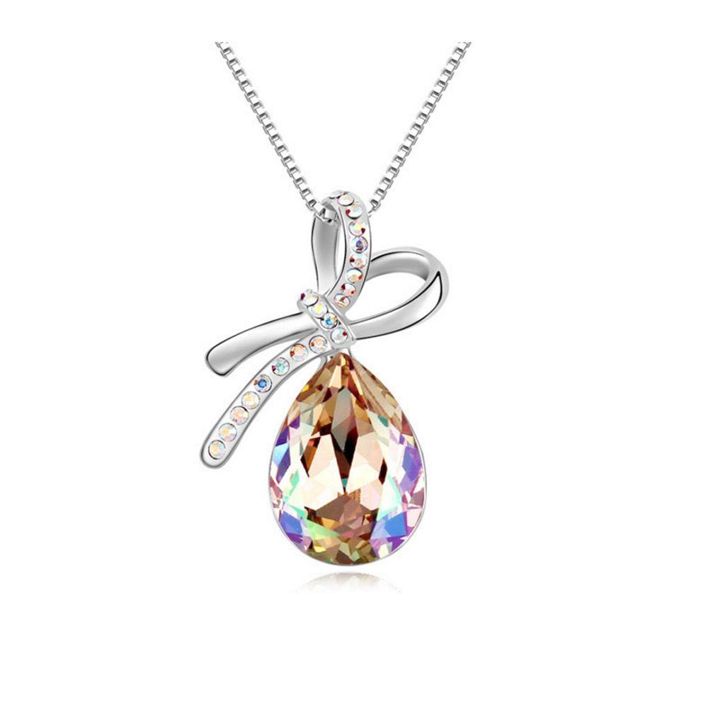 Swarovski - Aurora Borealis Crystal Swarovski Elements Knot Pendant and White Gold Plated