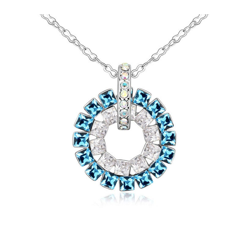 Swarovski - Blue Crystal Swarovski Elements Circle Pendant and White Gold Plated