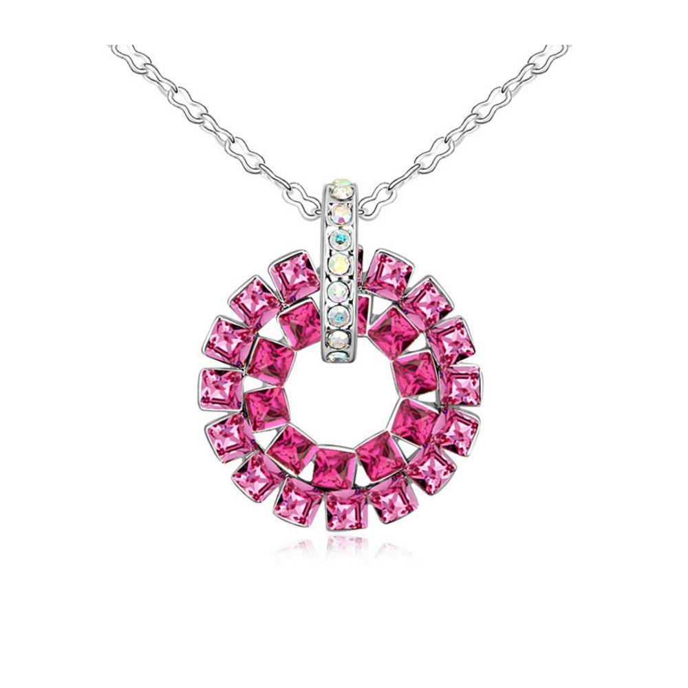 Swarovski - Pink Crystal Swarovski Elements Circle Pendant and Gold Plated White