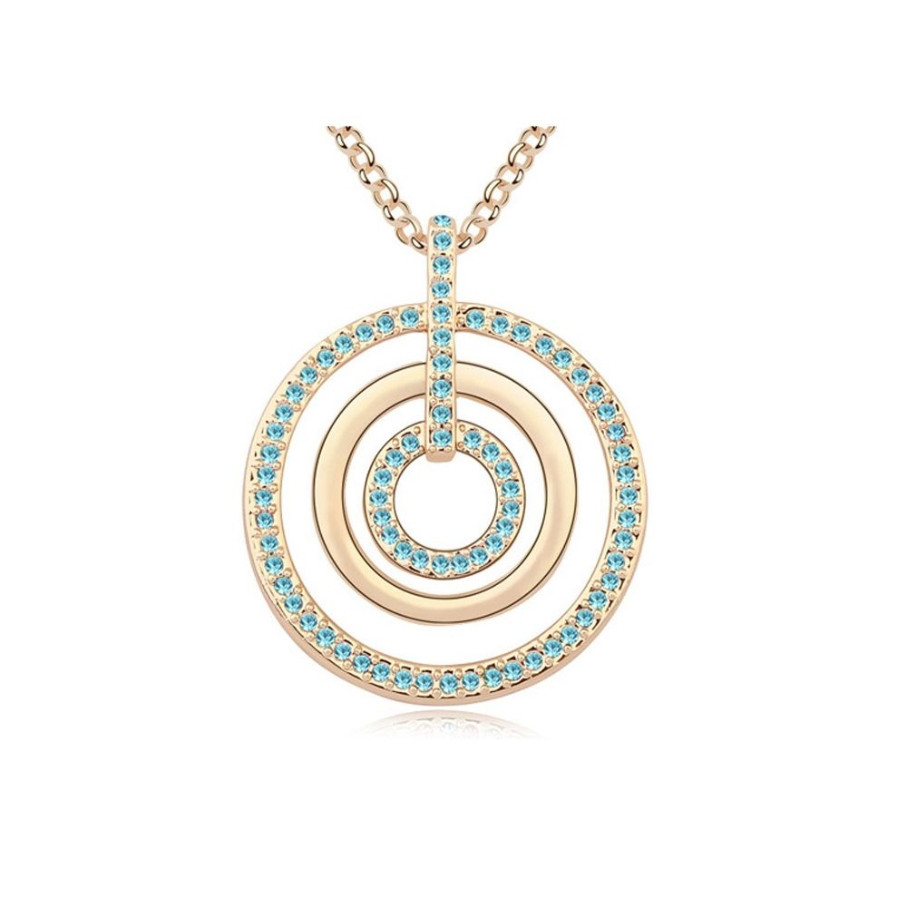 Swarovski - Blue Crystal Swarovski Element Circles Long Necklace and Yellow Gold Plated