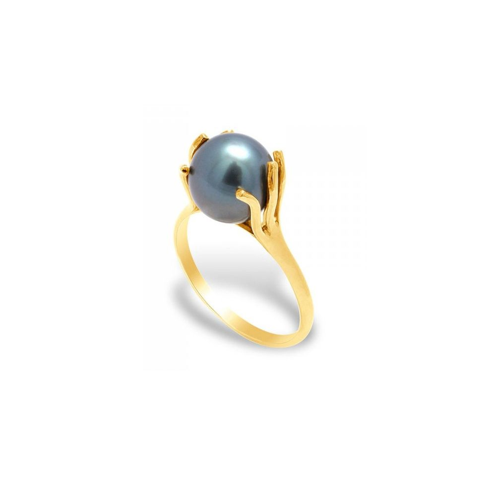 Black Tahitian Pearl Ring and Yellow Gold 375/1000