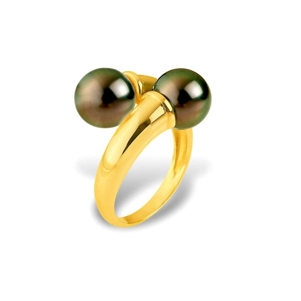 Black Tahitian Double Pearls Ring and Yellow Gold 375/1000