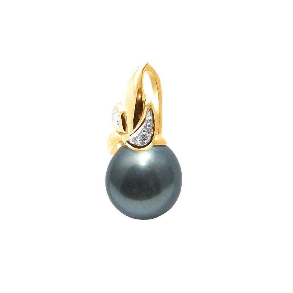 Black Tahitian Pearl and Diamonds Pendant and Yellow Gold 375/1000