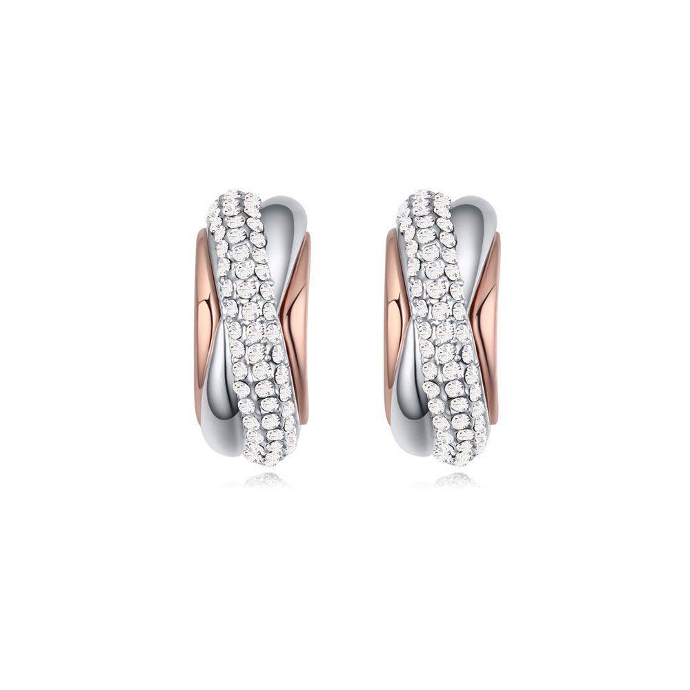 Swarovski - White Swarovski Elements Crystal Half Hoop Earrings