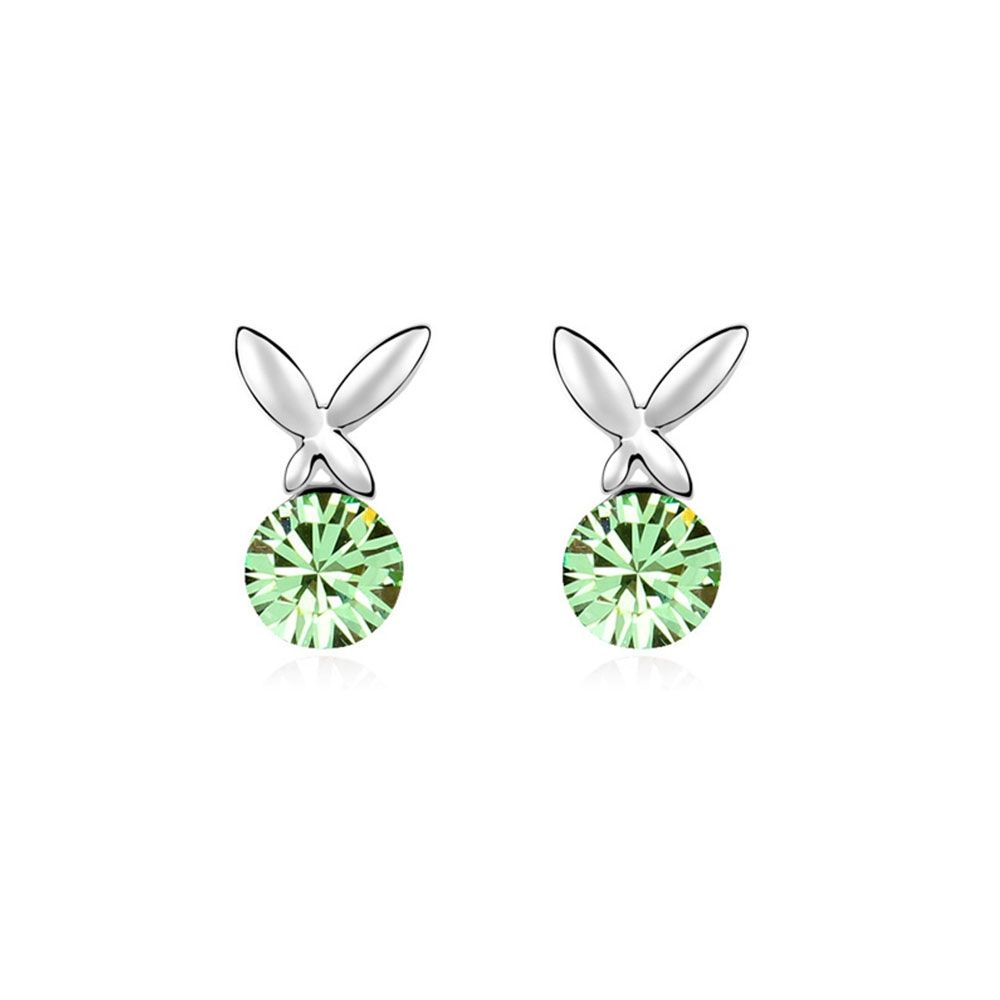 Swarovski - Green Crystal Swarovski Element Butterfly Earrings and White Gold Plated