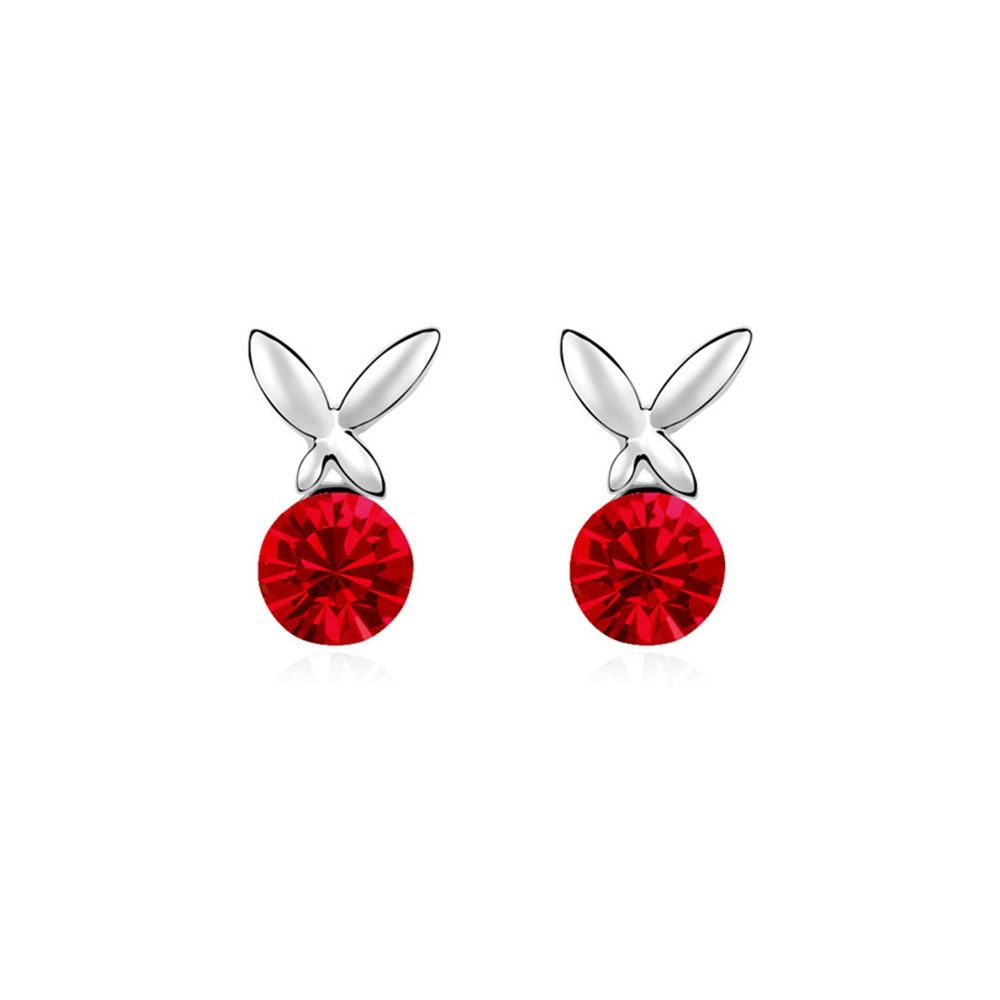 Swarovski - Red Crystal Swarovski Element Butterfly Earrings and White Gold Plated