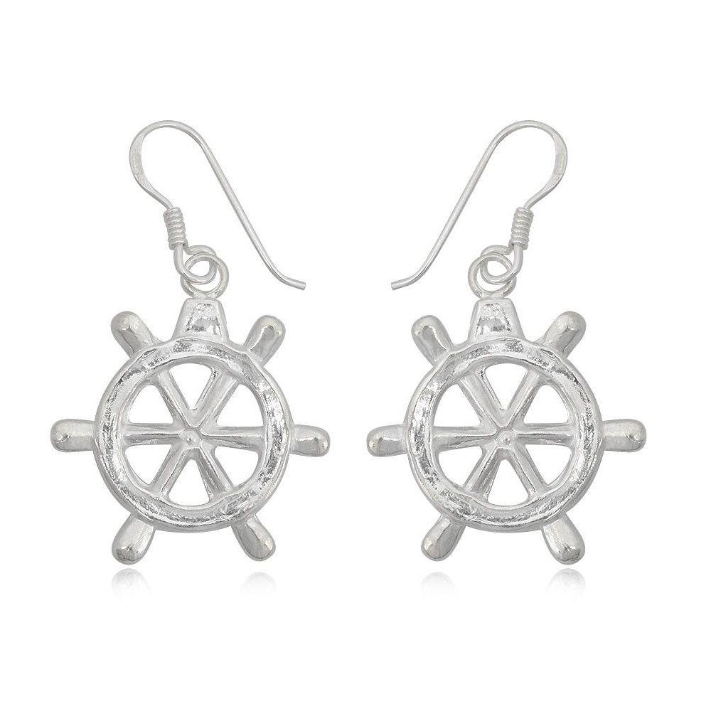 925 Silver Rudder Dangling Earrings