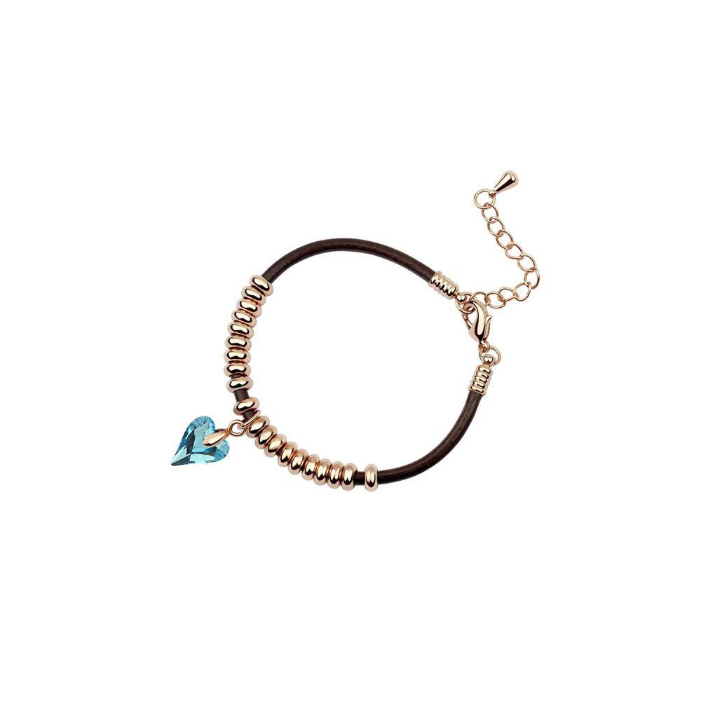 Swarovski - Heart Bracelet with Blue Swarovski Element Crystal and Yellow Gold Plated