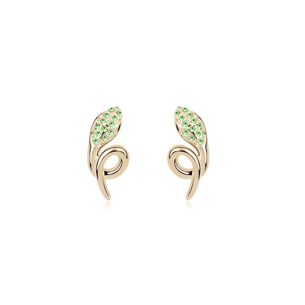 Swarovski - Yellow Gold Plated Snake Earrings with Green Swarovski Elements Crystals