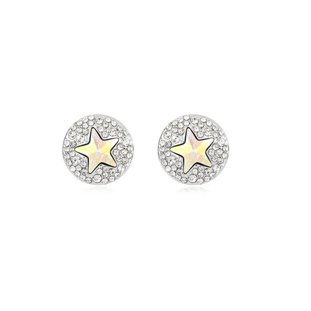Swarovski - White Gold Plated Star Earrings with White Swarovski Element Crystal