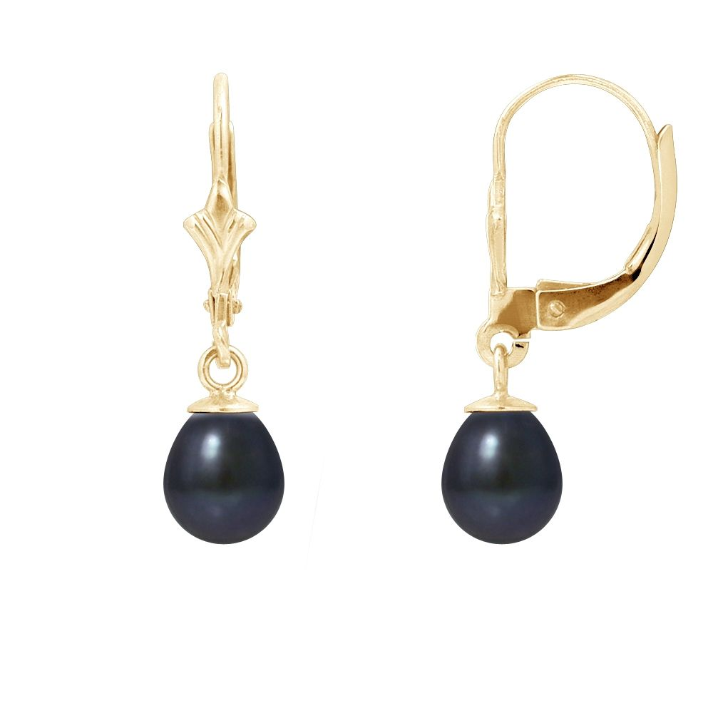 Black Freshwater Pearls Earrings and yellow gold 375/1000