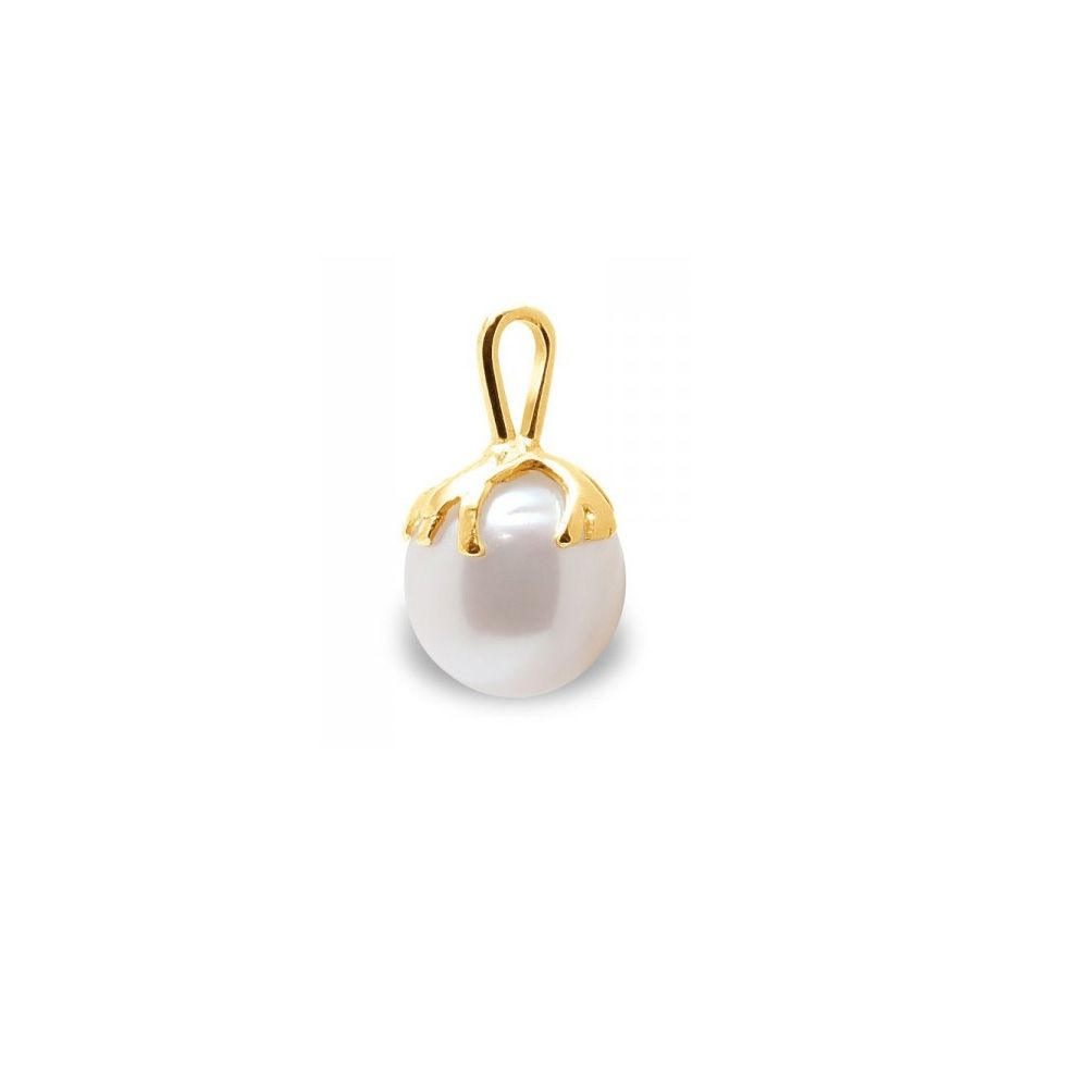 White Freshwater Pearl Pendant and Yellow Gold 375/1000