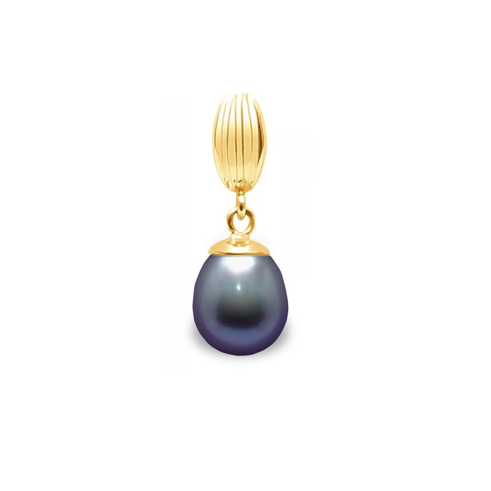 Black Freshwater Pearl Pendant and Yellow Gold 375/1000