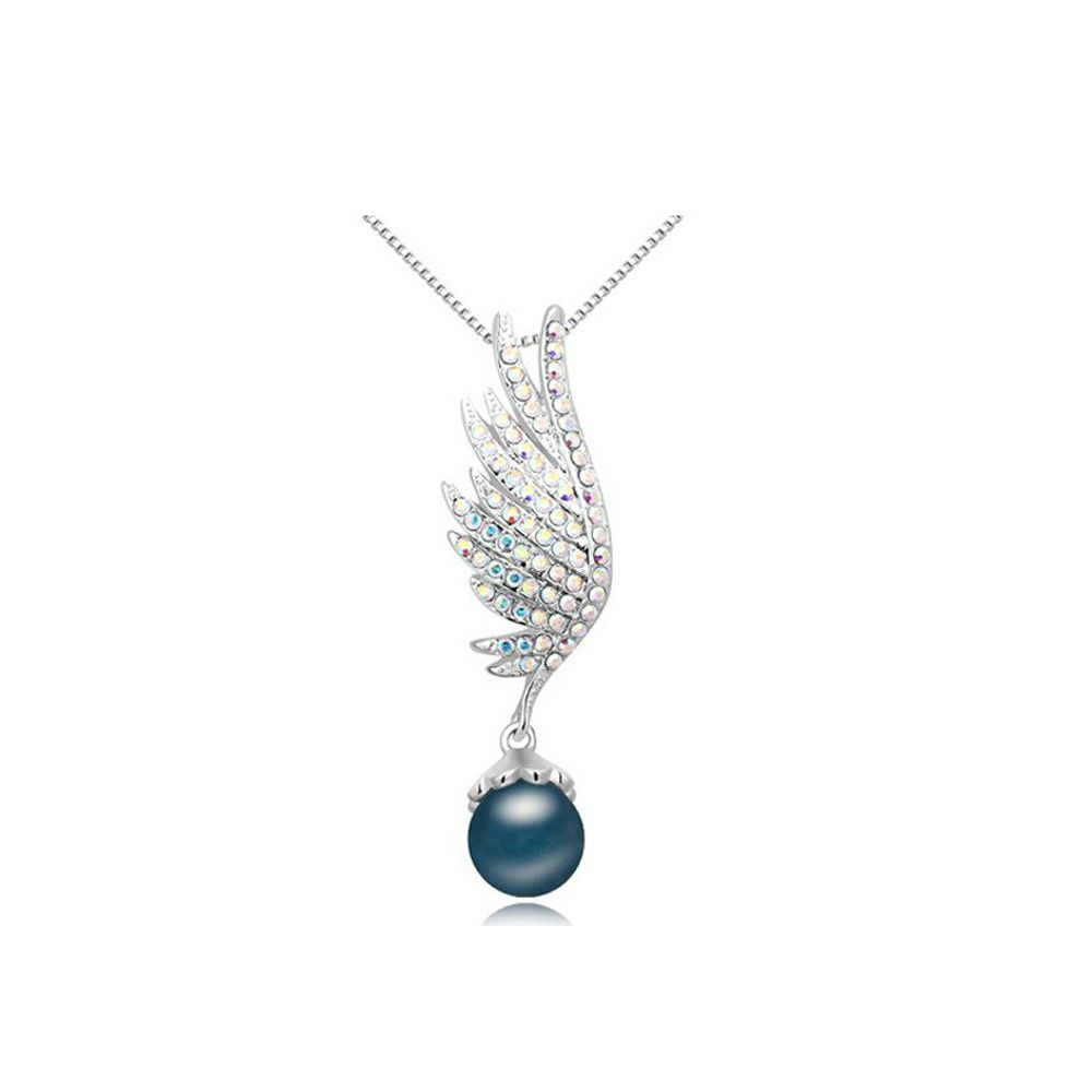 Swarovski - Rhodium Plated and Blue Pearl Wing Pendant made with White crystals from Swarovski