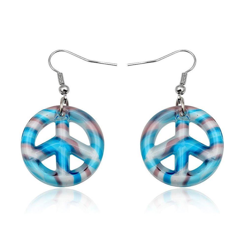 Blue Murano Glass Peace Earrings