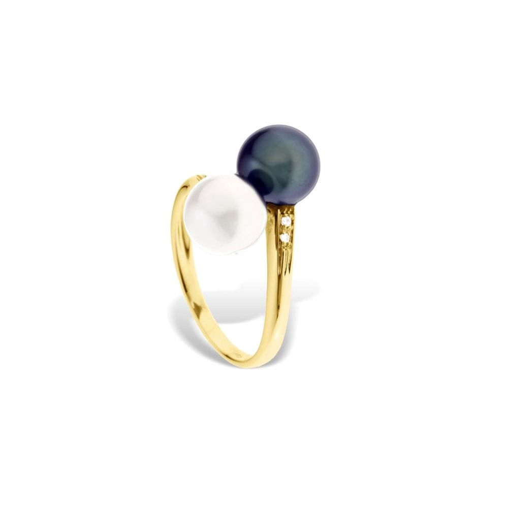 Black and White Freshwater Pearls, Diamonds Ring and Yellow Gold 375/1000