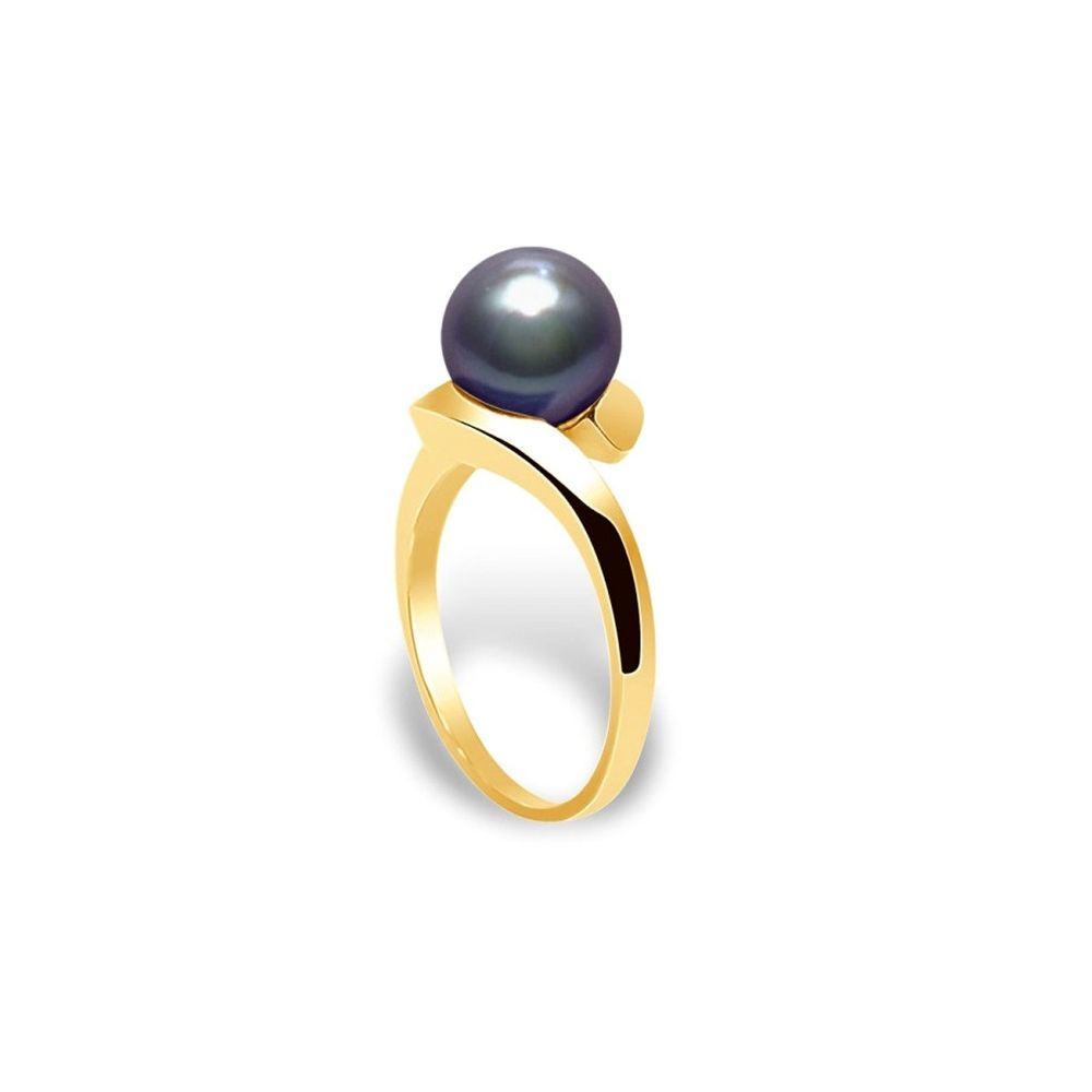 Black Freshwater Pearl Ring and Yellow Gold 375/1000