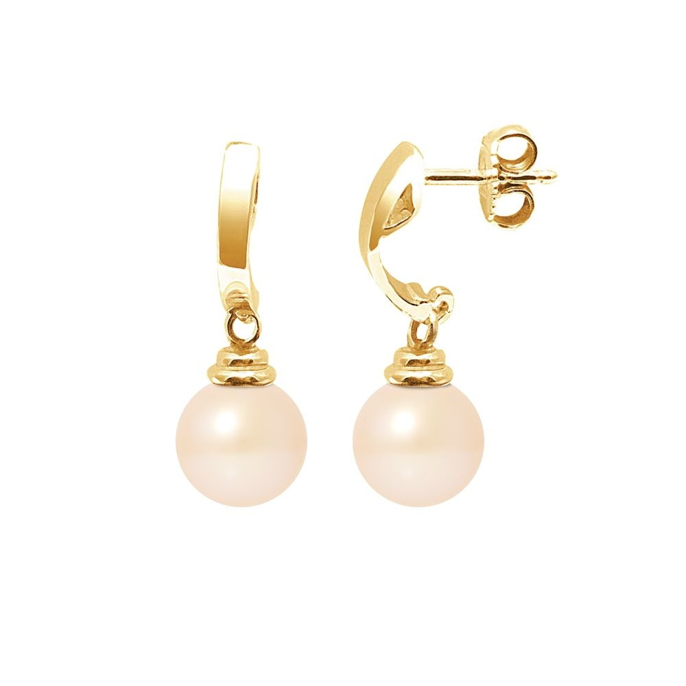 Pink Freshwater Pearls Dangling Earrings and yellow gold 375/1000