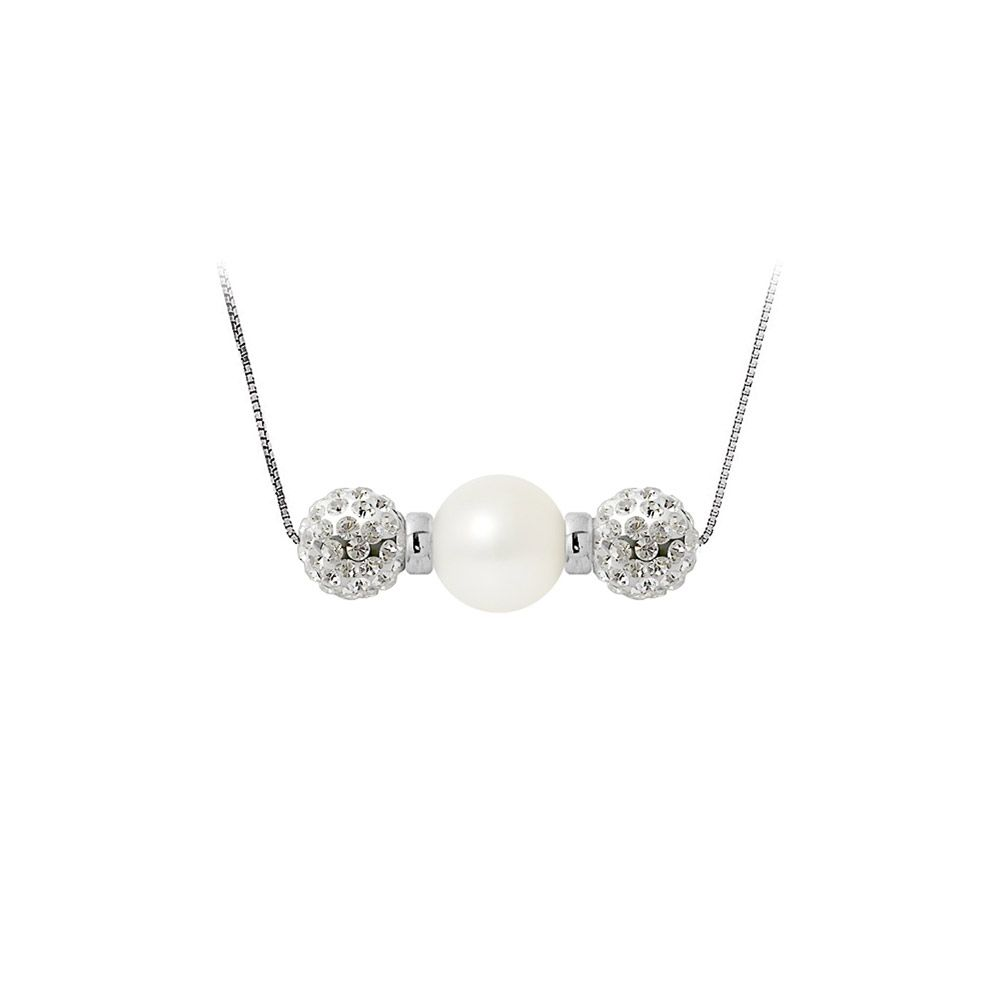 White cultured pearl necklace, crystal and 925 silver