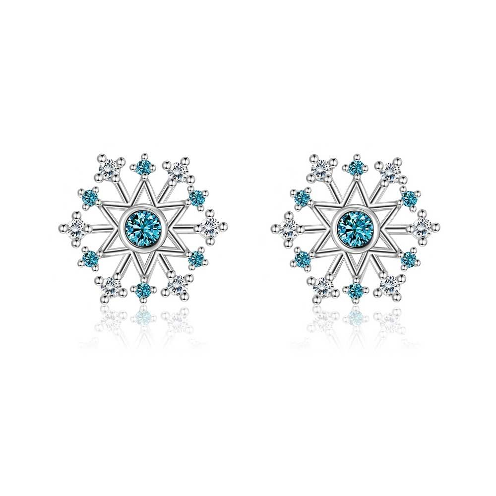 Swarovski - Earrings Woman Snowflake Crystal Swarovski White and Blue