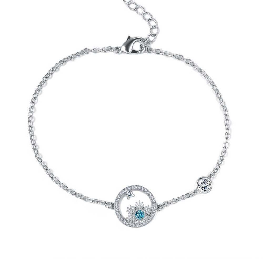 Swarovski - Women's Snowflake Bracelet in White and Blue Swarovski Crystal