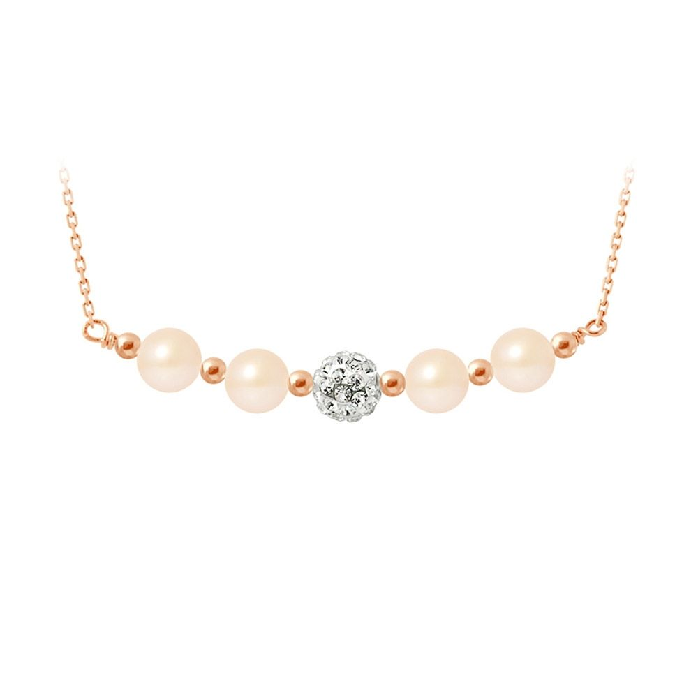 Pink cultured pearls necklace, crystal and rose gold plated and 925 silver