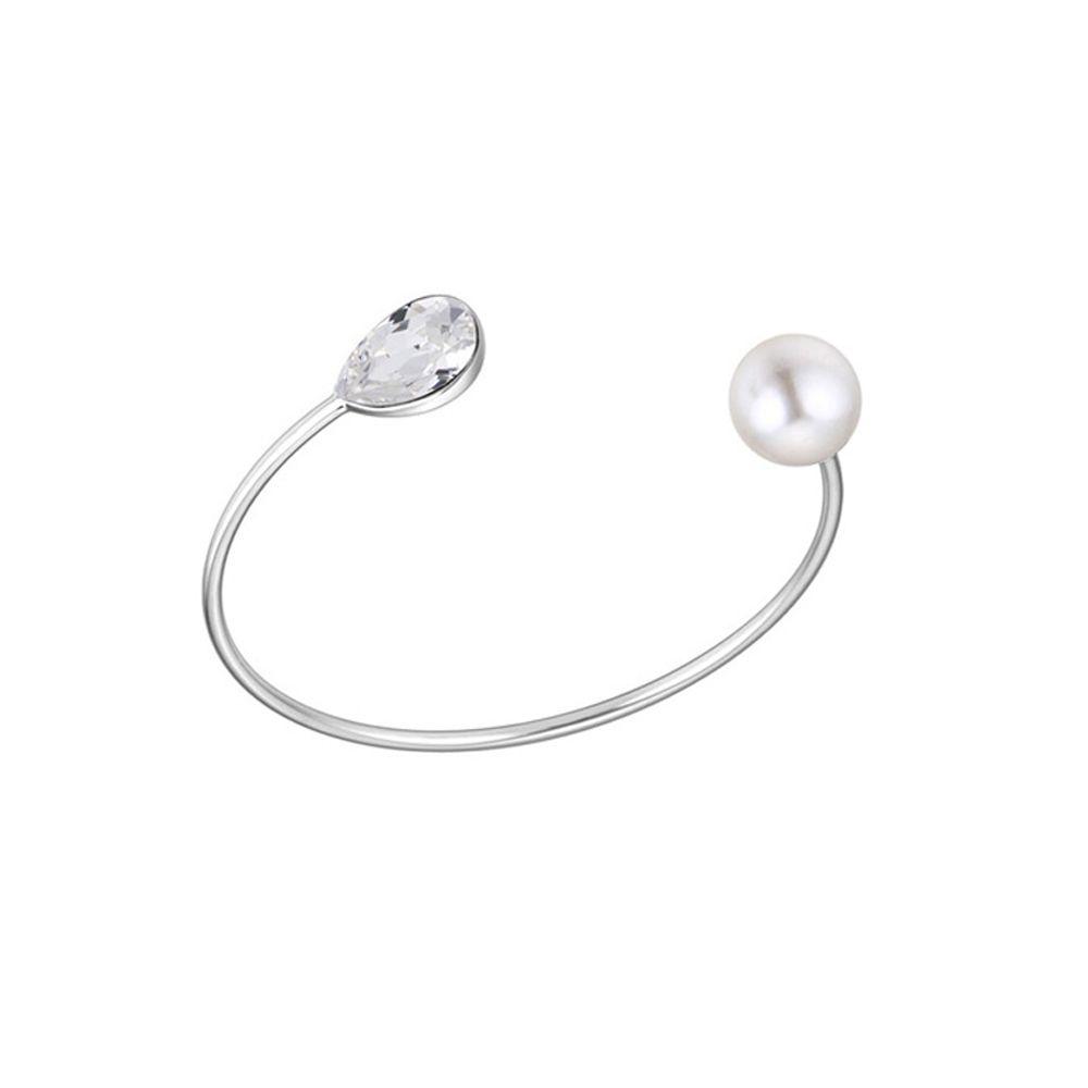 Swarovski - Bangle Bracelet made with Swarovski Elements Crystal and White Pearl