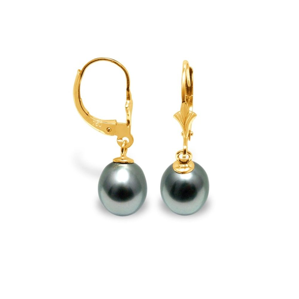 Black Tahitian Pearlsl Dangling Earrings and yellow solid gold 375/1000