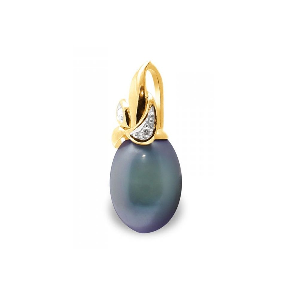 Black Freshwater Pearl, Diamonds Pendant and Yellow Gold 375/1000