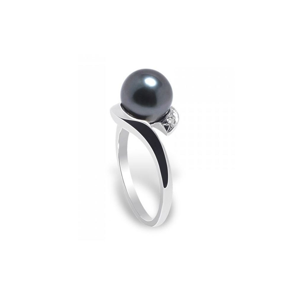 Black Tahitian Pearl, Diamonds Ring and White Gold 375/1000