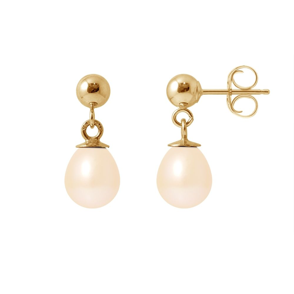 Pink Freshwater Pearls Dangling Earrings and yellow gold 750/1000