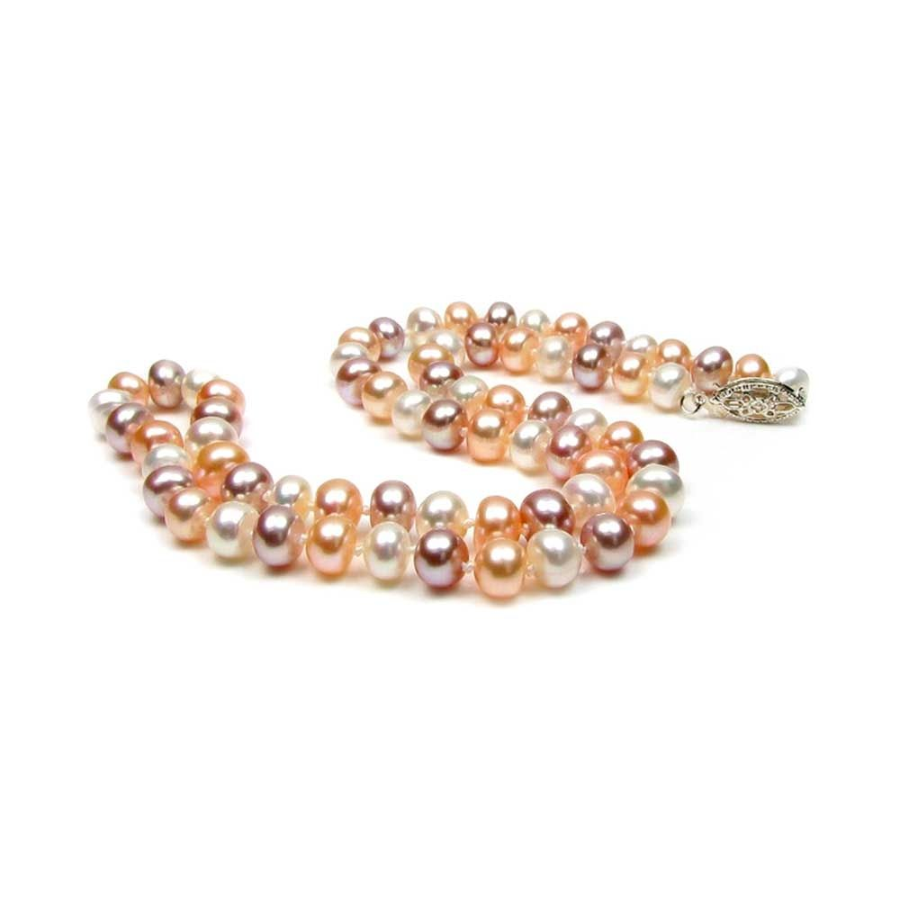 Multicolor Freshwater Pearl Necklace and Silver Clasp