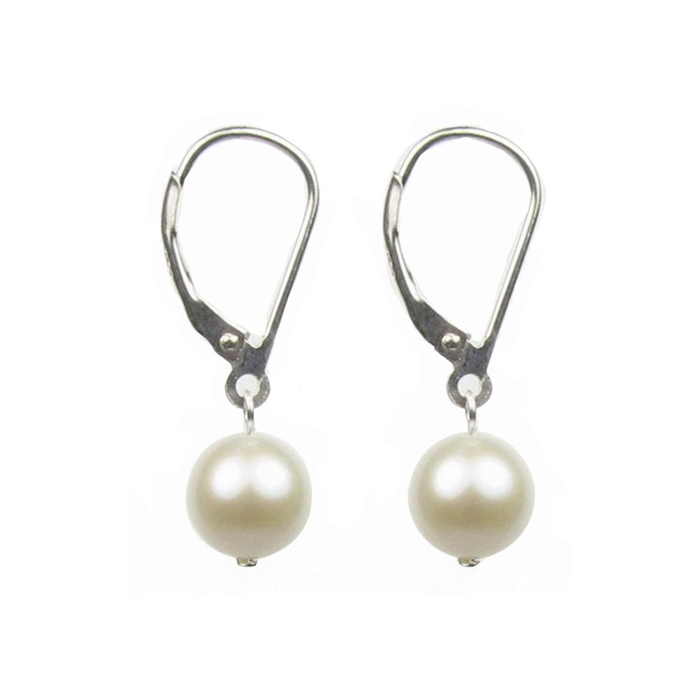 White Freshwater Pearl Hanging Dangling Earrings and Silver Mounting
