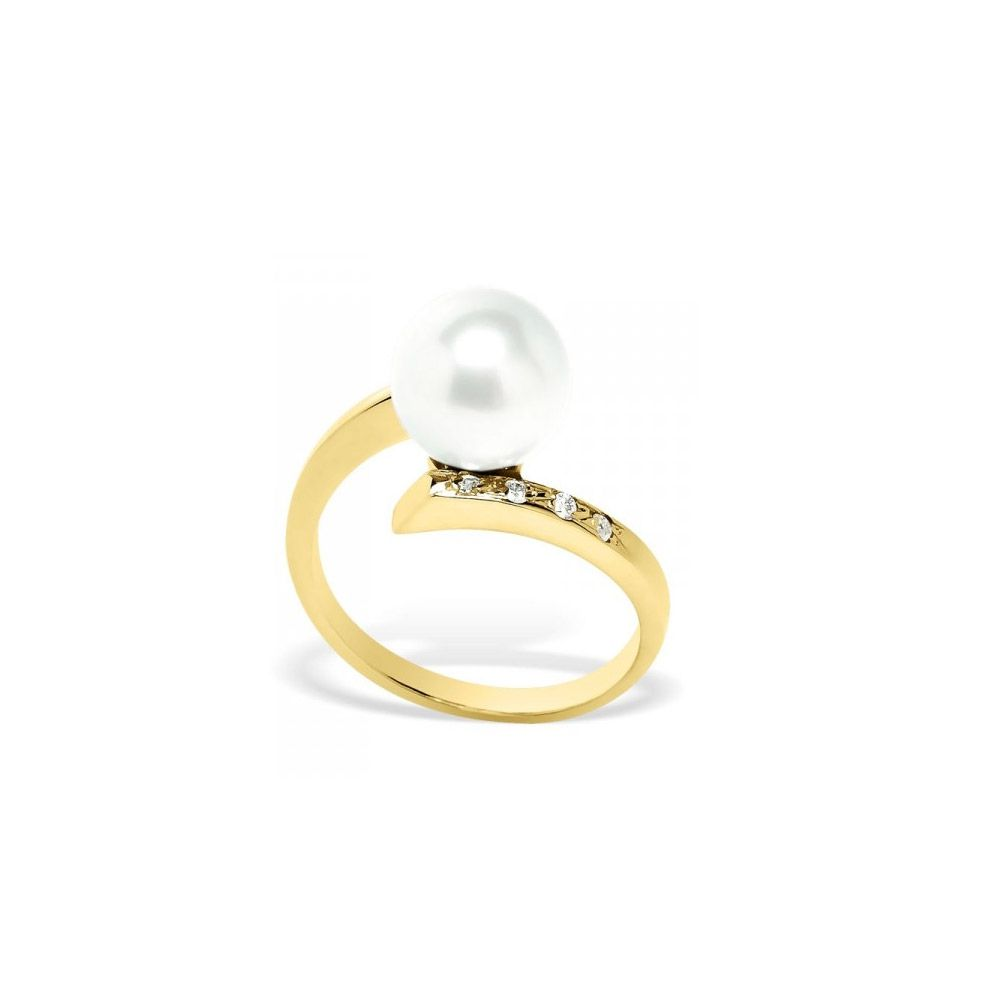 White Freshwater Pearl, Diamonds Ring and Yellow Gold 375/1000