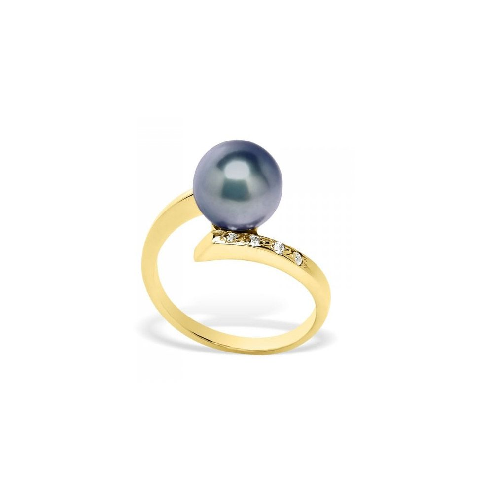 Black Freshwater Pearl, Diamonds Ring and Yellow Gold 375/1000