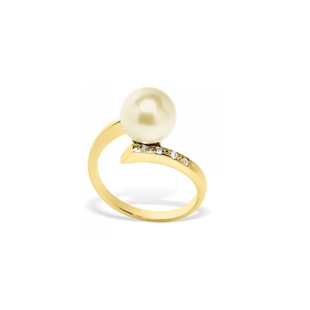 Gold Freshwater Pearl, Diamonds Ring and Yellow Gold 375/1000