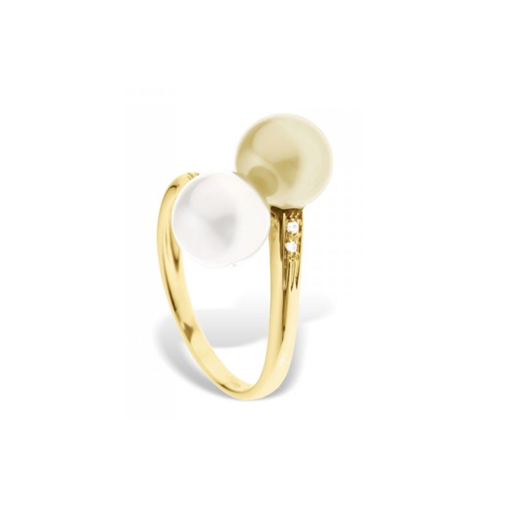 White and Gold Freshwater Pearl, Diamonds Ring and Yellow Gold 375/1000
